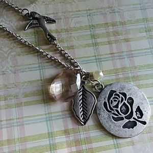 Necklace | Silver Rose Leaf and Bird